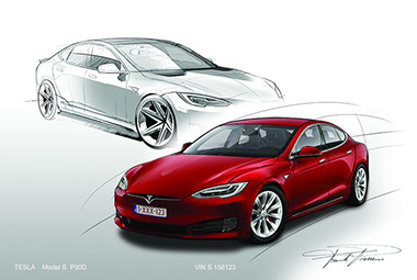 Tesla model S facelift design drawing 1
